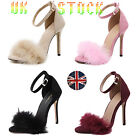 Kyпить UK Womens Fluffy Fur Sandals Stiletto High Heels Ankle Strap Shoes Cocktai Party на еВаy.соm