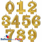 """3.25"""" Numeral Number Metallic Gold Birthday Party Cake Decoration Molded Candles"""
