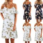 Womens Holiday Off Shoulder Floral Party Ruffles Ladies Beach Short Mini Dresses