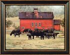 BY THE RED BARN by Bonnie Mohr FRAMED PRINT PICTURE 15x19 Farm Black Angus Cows