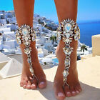 Chic Womens Crystal Anklets Barefoot Foot Ankle Chain Toe Ring Beach Jewelry US