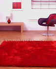 LARGE EXTRA THICK DENSE BRIGHT RICH RED SHAGGY RUG
