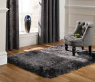 SMALL - LARGE SOFT CHUNKY THICK  LONG SHAGGY PILE PEARL DARK GREY CHARCOAL RUG