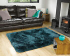 SMALL - LARGE SOFT CHUNKY THICK LONG LUXURY SHAGGY 8CM PILE TEAL BLUE PEARL RUG
