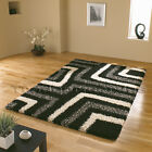 LARGE EXTRA THICK BLACK LIGHT GREY WHITE SHAGGY MODERN CONTEMPORARY RUG