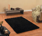 SMALL - X LARGE THICK GLOSSY SHINY SHIMMER SPARKLE STYLE BLACK TRENDY SHAGGY RUG