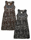 Ladies Animal Print Dress New Womens Sleeveless Leopard Chiffon Dress UK 8 - 14