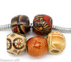 Wholesale Lots Gift Mixed Painted Drum Wood Beads. Fits Charm Bracelet 11x12mm