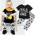 Toddler Kid Baby Boys Summer Outfits Clothes T-shirt Tops+Floral Pants 2PCS Set