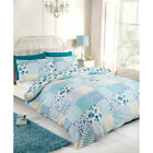 Patchwork Floral Chic Duvet Cover - Reversible Bedding Set in Teal Blue & White