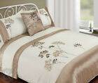 5pc Bed in a Bag - Gold & Cream Duvet Cover Faux Satin Silk Complete Bedding Set