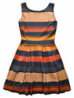 Ladies Skater Dress New Womens Fit And Flare Sundress Stripe Dresses UK 8 10 12