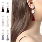 Luxury Women Pearl Charm Fringe Boho Tassel Hook Drop Dangle Earrings Jewelry