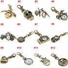 Mini Vintage Bronze Tone Key Ring Pocket Quartz Pendant Kids Unisex Watch Gift image