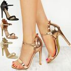 Womens Ladies High Heel Barely There Frill Ruffle Rose Party Sandals Shoes Size