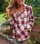 US Fashion Womens Long Sleeve Hoody Blouse Plaids & Checks Print Shirt Tops GIFT