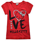 Ladies Hello Kitty T Shirt New Womens Short Sleeve Cotton Blend Red Top XS S M L