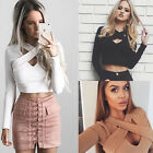 Women Casual V-Neck Cross Bandage Slim Crop Tops Long Sleeve T-shirt Blouse Top