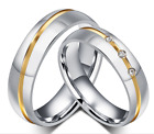 High Quality Stainless steel classic Gold line w/zircon design love Couple Rings