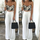 New Ladies Women Flare Pants Plazo Trousers Wide Leg High Waist crepe White 2017