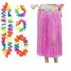 New Ladies Coloured Hula Hawaiian Straw Skirts Bra and Hula Flowers Set