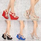 Shimmer Rhinestone Accent Platform Gladiator Wedges Faux Leather Open toe Sandal