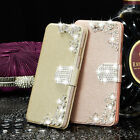 Bling Diamonds Flip Wallet Magnetic Leather Case Cover For iPhone& Samsung