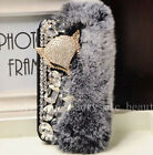 Leather Fox Flush Rabbit Fur Fuzzy Diamond Bling Crystal Wallet Phone Case Cover