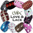 Love & Lace CHIX NAILS Hearts Valentine Vinyl Nail Wraps Fingers Toes Foils