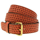 Mens 1 1/2 Chestnut English Bridle Leather Belt Embossed Basket Weave