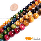 """Colorful Tiger's Eye Gemstone Round Beads For Jewelry Making 15"""" 6mm 8mm 10mm"""