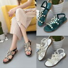 Chic Women Casual Summer Beach Elastic Ankle Strap Pearl Flats Sandals Shoes