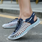 Mens Lace Up Summer Sandals Strappy Fashion Flats Bohemia Weave Shoes Size 6-11