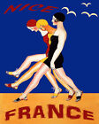 POSTER FASHION GIRLS SWIMSUIT BEACH IN NICE FRANCE TRAVEL VINTAGE REPRO FREE S/H