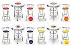 FC724 3 PIECE VINTAGE GAS SHOP THEMED ROUND WHITE BAR TABLE & CHROME STOOLS SET