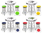 FC581 IGUANA LIZARD THEME 3 PIECE BAR TABLE SET WHITE TOP & 2 CHROME BAR STOOLS