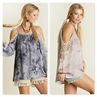 Umgee USA Ladies Tie Dye Cold Shoulder Top Two Colors Sizes S - M NWT