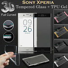 FULL CURVED EDGE 3D TEMPERED GLASS SCREEN PROTECTOR for Sony Xperia + GEL CASE