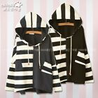 Japanese Mori Girl Harajuku stripe Hooded Long Sleeve Navy Preppy Style Sweater