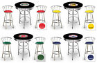 3 PIECE VINTAGE GAS AUTO SHOP THEMED BLACK ROUND BAR TABLE & CHROME STOOLS SET