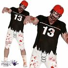 Mens Zombie Rugby Player American Footballer Halloween Horror Fancy Dress Outfit