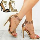 New Womens Ladies High Heels Party Sandals Strappy Stilettos Evening Shoes Size