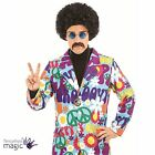 Mens 1960s 60s 1970s 70s Groovy Hippie Hippy Suit Fancy Dress Costume Flares CND