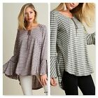 Umgee Ladies Wide Neck Top with Bell Sleeves High Low Hemline Two Colors S M L