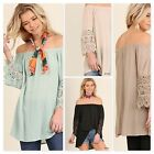 Umgee Ladies Off the Shoulder Tunic Top with Crochet Sleeve Detail 4 Colors S-L