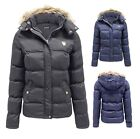 Ladies Womens Quilted Padded Winter Parka Coat Puffer Fur Collar Hooded Jacket