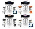 furniture for man cave - FC516 MLB THEMED BLACK AND CHROME BAR TABLE SET FOR MAN CAVE, PUB OR GAME ROOM