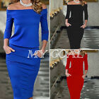 Women Ladies Bodycon Midi Off Shoulder Party Evening Pencil Dress Long Sleeves