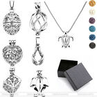 Fashion Openable Hollow Locket Pendant 6 Lava Beads Necklace Chain Set Gift