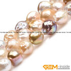 """Natural Large Nuclear Edison Pearl Near Round Beads For Jewelry Making 15""""String"""